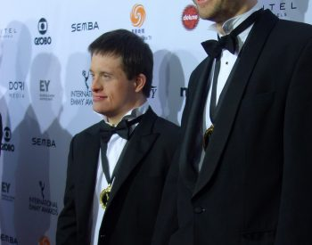 With film-maker brotherWill Jessop at the International EMMYS in New York for GROWING UP DOWNS