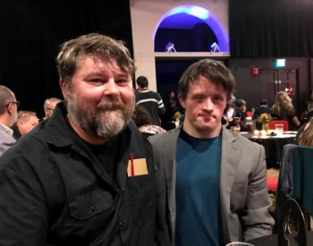 Receiving the BEST ACTOR award for FIGHTER from Ben Wheatley at the Oscar Bright Film Festival