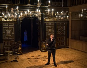 As Hamlet on stage in the Sam Wanamaker Playhouse, Globe Theatre, London